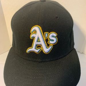 Oakland A's 59Fifty Black Baseball Hat Authentic